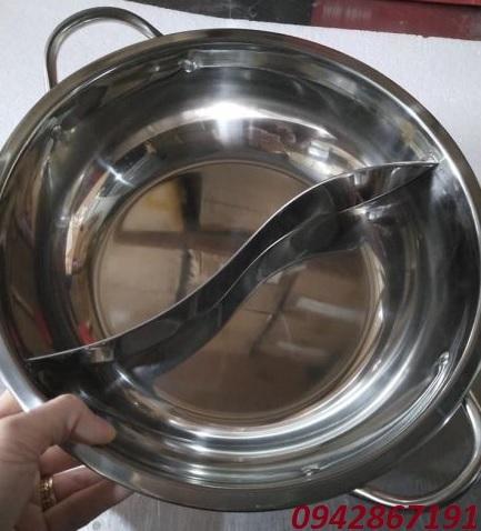 Nồi lẩu inox 2 ngăn tròn kích thước 29 cm cho nhà hàng giá rẻ nhất Hà Nội